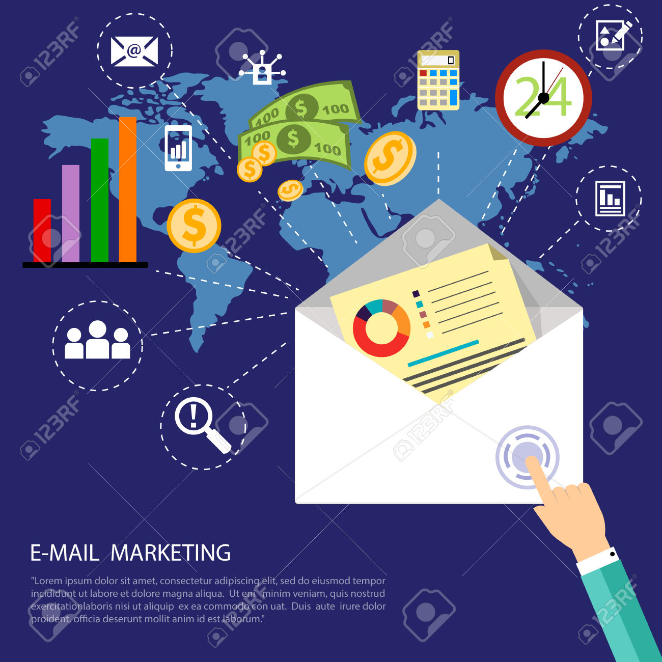 Email marketing concept. World map surrounded by media icons. Flat design stylish letter with application icons