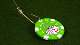 Poker CHip on a Fish Hook.